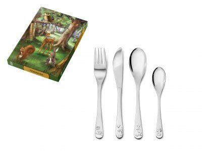 """ZILVERSTAD Комплект детски прибори за хранене """"Горски животни"""" - 4 части"""