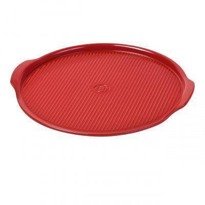 """EMILE HENRY Керамична плоча за пица """"RIDGED PIZZA STONE"""" - Ø 40 см - цвят червен"""
