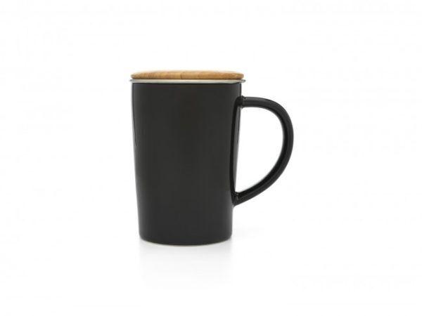 BREDEMEIJER Порцеланова чаша за чай с филтър и капак - черна - 400 мл.