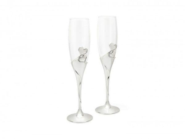 """ZILVERSTAD Подаръчен сет чаши за шампанско със сребърно покритие """"Heart"""" - 2 броя"""