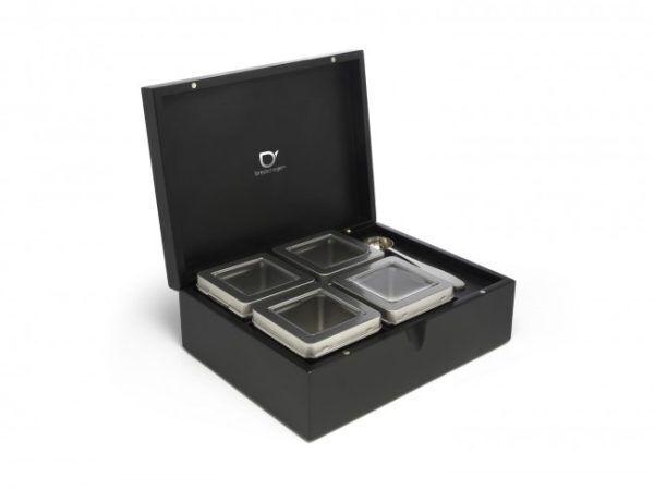 Bredemeijer Черна бамбукова кутия за чай с 4 канистъра и дозаторна лъжица
