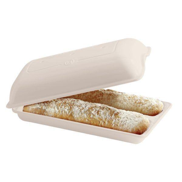"""EMILE HENRY Керамична форма за печене на хляб/чабата """"CIABATTA BAKER"""" - 39 х 23см - цвят екрю"""