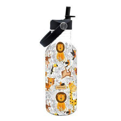 """Nerthus Детска стоманена бутилка с дръжка и сламка """"ДЖУНГЛА"""" - 500 мл."""