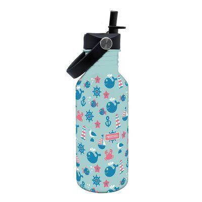 """Nerthus Детска стоманена бутилка с дръжка и сламка """"ОКЕАН"""" - 500 мл."""