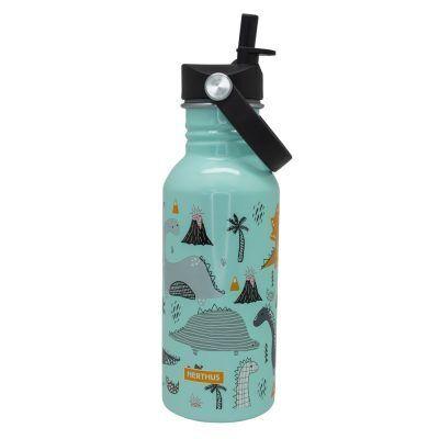 """Nerthus Детска стоманена бутилка с дръжка и сламка """"ДИНОЗАВРИ"""" - 500 мл."""