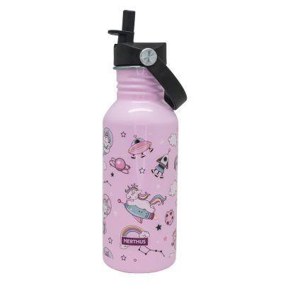"""Nerthus Детска стоманена бутилка с дръжка и сламка """"ЕДНОРОЗИ"""" - 500 мл."""