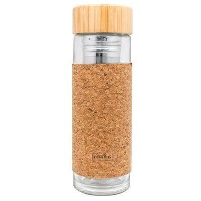"""Nerthus Двустенна стъклена бутилка с инфузер - """"КОРК"""" - 300 мл."""